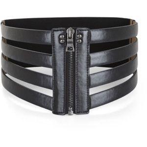 BCBG MAXAZRIA black cage zip waist belt